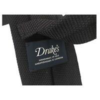 DRAKE'S cravatta uomo sfoderata blu operata cm 7 100% seta MADE IN ENGLAND