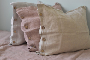 Linen pillow case with button closure with edge Stone Wash Soft Flax Queen King