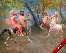 WOMAN AT THE FEAST OF THE CENTAURS PAN MYTHOLOGY PAINTING ART REAL CANVAS PRINT