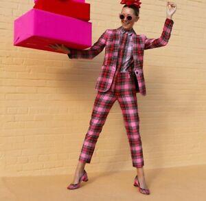 NIB J Crew Kate Pumps Heels in Pink Stewart Tartan Plaid Glitter Sole Sz 8 $178