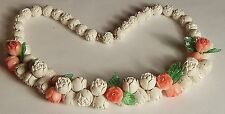 VTG OLD PLASTIC ROSEBUD FLOWER LEAF NECKLACE PEACH & CREAM