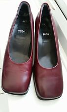 Ecco burgundy/ Red leather slip on shoes UK 4.5 - low heel - good condition