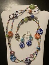 Strand Artisan Rope Necklace/Earrings Rainbow Handmade Lampwork Glass Bead 44�