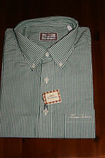 Men's THOMAS BURBERRY Long Sleeve GREEN STRIPE SHIRT Button Down Collar SIZE L