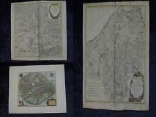 KONVOLUT BELGIEN FLANDERN HENNEGAU 2 ORIGINALE KUPFERSTICH KARTEN UM 1750 #B173S