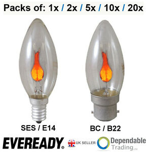 EVEREADY 3W Clear Flicker Flame Candle bulbs SES E14 Screw - BC B22 Bayonet cap