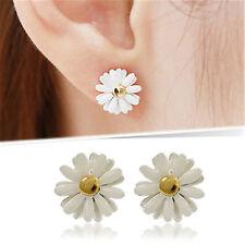 Cream oil spot daisy stud earrings, 50s, 60s 70s retro