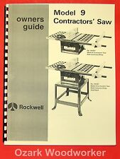 ROCKWELL Model 9 Contractors' Saw Operator's & Parts Manual 0613