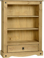 MEXICAN PINE CORONA SMALL LOW 1 DRAWER BOOKCASE SHELVES *FREE NEXT DAY DELIVERY