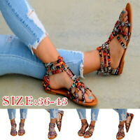 Womens Sandals Boho Flat Sandals Trendy Print Ankle Strap Open Toe Beach Shoes