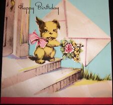 Vtg GREETING CARD Die Cut 40's  PUPPY Dog Terrier Letter DOOR STEP Birthday