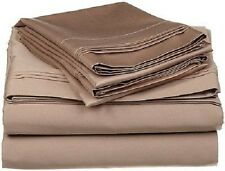 Duvet Set + Fitted Sheet King Size Taupe Solid 1000 TC 100% Egyptian Cotton