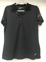 Nike Golf Tour Performance Dri Fit Mens Large Black White Striped Polo CMSU
