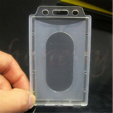 10pcs Vertical Hard Plastic ID Badge Holder Credentials Card Transparent Clear