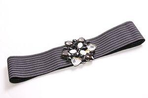 Great Ladies Wide Stretchable Striped Waist Belt w Large Diamond Buckle (S348)