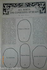 Phrenology Human Head Shape Antique Victorian Illustrated Article 1898 Fortescue
