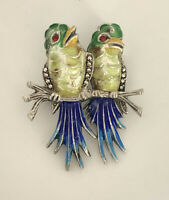 Vintage Alice Caviness Marcasite Birds Sterling Silver Enamel Pin Brooch Estate