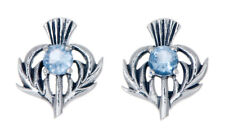 Sterling Silver Thistle Stud Earrings with a March Birthstone Centre