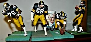 6 INCH MCFARLANE SET OF 4 PITTSBURGH SSTEELER GREATS+RARE COLLECTABLE CAN