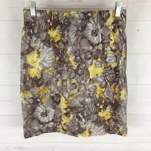 Talbots petite womens 4P stretch yellow gray floral elastic waist slit skirt