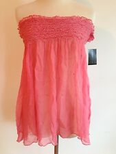 GUESS Collection Strapless Empire Top Rose/Pink 100% Silk Size M  NWT! MSRP $88