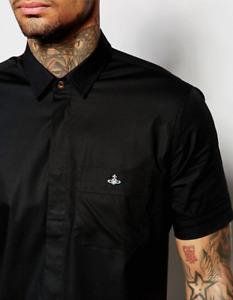 Mens Black Vivienne Westwood shirt, Short sleeve, Orb logo, slim fit