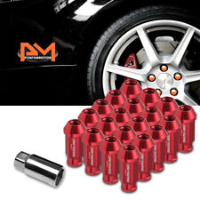 M12X1.5 Red JDM Open-End Acorn Hex Wheel Lug Nuts+Extension 25mmx50mm Tall 20Pc
