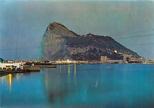 13 La Linea Vista del Penon Nocturna de Gibraltar Postcard Spain Postcard