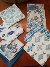 18 Paper Napkins Art Decoupage Scrap Booking Blue Nautical crab shells fish