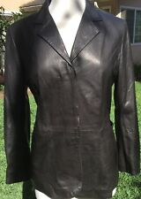 Stefano Peruzzi  Women's Brown Leather Lapel Long Sleeve Jacket Coat Size US 8