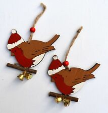 2 x Wooden Hand Crafted Birds Robin Hanging Christmas Tree Decorations Gift