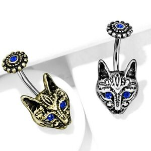 """TRIBAL CAT SURGICAL STEEL/BRASS BELLY BUTTON RING NAVEL PIERCING (14G 3/8"""")"""