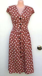 WITCHERY Linen Blend Salmon Pink & White Spot Waisted Dress Front Button 8