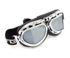 Vintage Aviator Style Motorcycle Scooter Goggles - Black Chrome - Mirror Lens