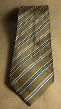 Boys New Non Branded Green Striped 100% Silk Neck Tie
