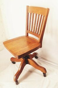 Vtg antique early cast iron tiger oak wood office library study swivel chair