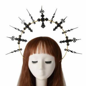Queen Halo Crown Cross Black Headband Women Virgin Mary Headpiece Hair Band