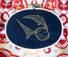 Handmade Black Gold Harry Potter Quidditch Golden Snitch Embroidered Hoop Wall