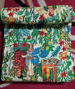 Indian Handmade Quilt Vintage Kantha Bedspread Throw Cotton Blanket Gudari Art