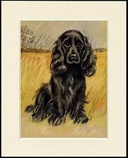 COCKER SPANIEL CHARMING LITTLE BLACK DOG PRINT MOUNTED READY TO FRAME