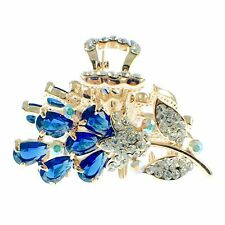 USA HAIR CLAW CLIP use Swarovski Crystal Hairpin Elegant Flower Nave Blue K03