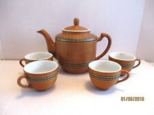 5 Pcs. Tea Pot & Cups Lt. Brown Black Trim Asian Reed? Wrapped Porcelain Set