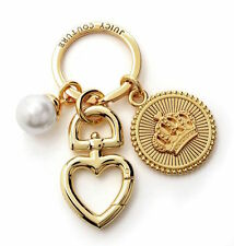 Juicy Couture Key Ring fob Purse Charm Pearl Crown Medallion NEW