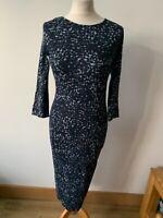 Next Petite Jersey Pencil Dress Size 10 Black and Blue