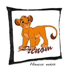 Coussin noir LE ROI LION V3 avec le prénom de votre choix