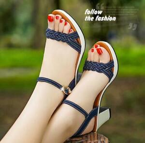 Womens summer sandals block-heels pumps slingbacks grace ladys shoes buckle