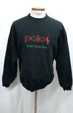 VTG 90s Polo Ralph Lauren Mens XL / L  BOOTLEG Sweatshirt EMBROIDERED Black