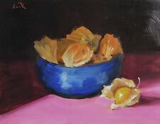 Oil Painting, Blue Bowl & Physalis. Original impressionist still life.