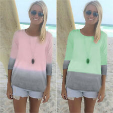 6 - 20 Women's Ladies Casual Shirts Summer Long Seeve T Shirt Tee Tops Blouse AU