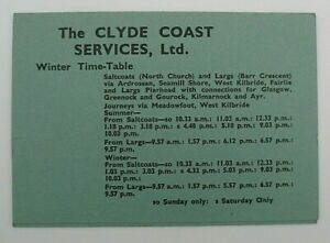CLYDE COAST SUMMER & WINTER SERVICES 1964 / 1965 ~  BUS T/T LEAFLET